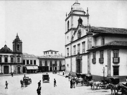 A Matriz da Sé, em foto de Militão Augusto de Azevedo, década de 1860 reproduzida no livro 'Tebas, um negro arquiteto na São Paulo escravocrata'.