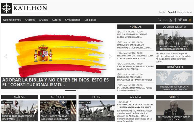Captura de tela do portal katehon.com.