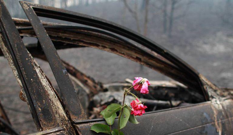 Uma flor em memória às pessoas que morreram neste carro em Nodeirinho.