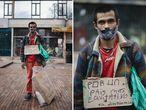 """Andrés Sánchez, 28 años. Marcha y trabaja. Camina y rebusca. Protesta mientras recoge latas, cartones que lleva en un costal. En uno de esos cartones pintó su razón para manifestar: """"Por un país más igualitario"""" escribió con marcador en un pedazo que recogió en la mañana. """"Estoy acá para apoyar al pueblo y aprovecho la marcha para rebuscar"""", dice mientras camina por la avenida séptima de Bogotá. Sánchez terminó el bachillerato y estudiaba instalación de redes en el Sena, un instituto técnico estatal, pero se """"desordenó"""", confiesa. Ahora recoge material reciclable que vende por 3.000 pesos el kilo (menos de un dólar) con lo que ayuda en su casa, a su mamá. """"Algún día quiero estudiar zoología. Lo mío son los animales"""", dice el joven que vive en Las Cruces, un barrio pobre del centro de Bogotá, donde desde hace un mes termina su marcha y su jornada de trabajo."""