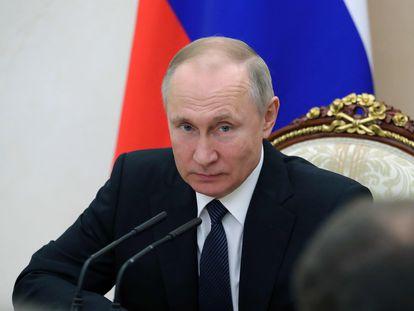 O presidente russo, Vladimir Putin, durante reunião em Moscou.