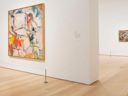 Em primeiro plano, 'Interchange', de De Kooning. Atrás, 'Number 17A', de Pollock, em sua sala no Instituto de Arte de Chicago.