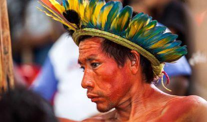 Indígena atingido por Belo Monte, durante reunião em Altamira.