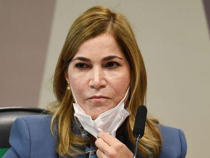 Mayra Pinheiro durante depoimento à CPI da Pandemia no Senado.