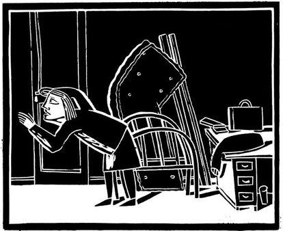 Outra das ilustrações para 'A metamorfose', na edição de Nórdica Livros.