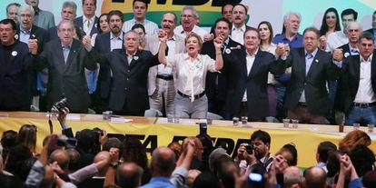 Marta Suplicy durante ato de filiação ao PMDB