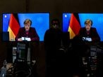 Berlin (Germany), 15/01/2021.- Screens show German Chancellor Angela Merkel as she delivers her speech during CDU party virtual party congress in Berlin, Germany, 15 January 2021. The CDU party congress is be held on 15 and 16 January in digital format at which a new party chairman is to be elected between three leading members of the CDU, Friedrich Merz, Armin Laschet and Norbert Roettgen. Current Chancellor Angela Merkel is to step down as leader of the CDU party in September 2021 after leading the party for the past 16 years. Merkel said in October 2018 she also would not seek a 5th term as Chancellor in 2021. (Alemania) EFE/EPA/FILIP SINGER
