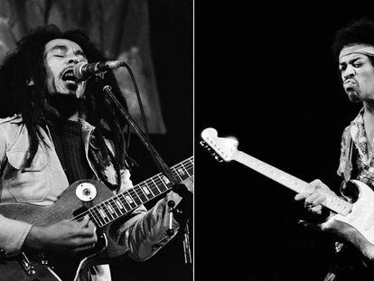 Do lado esquerdo, Bob Marley com uma Gibson Les Paul no Roskilde Festival 1978, na Dinamarca. Do lado direito, Jimi Hendrix, com uma Fender Stratocaster em Copenhague em 1970.