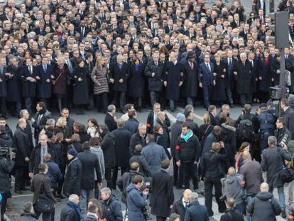 Os líderes mundiais na manifestação.