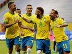 Soccer Football - Copa America 2021 - Group A - Brazil v Venezuela - Estadio Mane Garrincha, Brasilia, Brazil - June 13, 2021 Brazil's Neymar celebrates scoring their second goal with teammates REUTERS/Henry Romero