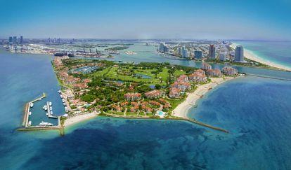 Fisher Island e Miami Beach (à direita).
