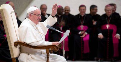 O papa Francisco, durante a audiência geral desta quarta-feira.