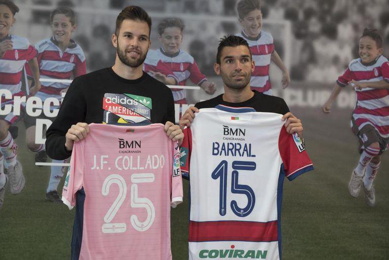 Granada apresenta o goleiro Jesús Fernández (esq.), que chegou por empréstimo, e o atacante David Barral.