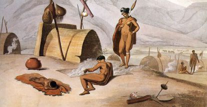 Quadro de 1805 que mostra alguns bosquímanos.