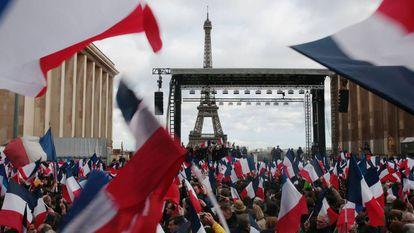 Manifestação de apoio a Fillon, no domingo em Paris.