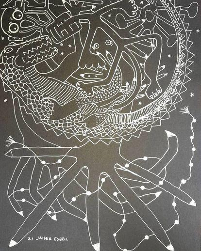 'A festa do jacaré', obra de Jaider Esbell.