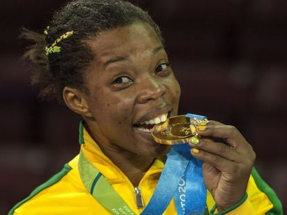 Joice Souza, medalha de ouro na luta livre feminina 58 kg.
