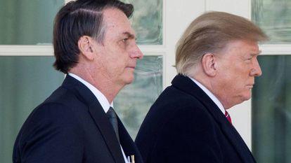 Jair Bolsonaro e Donald Trump na Casa Branca.
