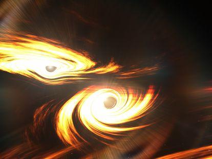 Representação dos dois buracos negros antes de colidirem e se fundirem. No vídeo, o buraco negro impossível.