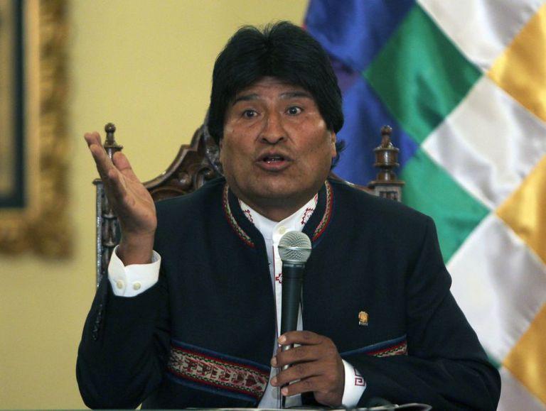 O presidente de Bolívia, Evo Morais, durante a conferência de imprensa do 24 de fevereiro na que reconheceu sua derrota no referendo.