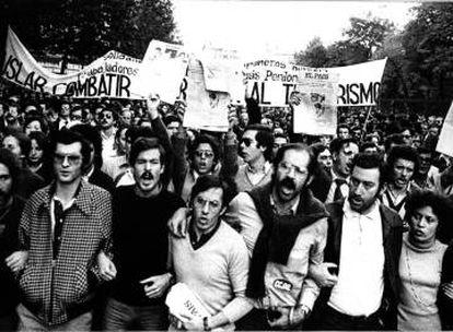 Trabalhadores do EL PAÍS se manifestam depois do envio da carta-bomba contra o jornal que matou o contínuo Andrés Fraguas em 1978.