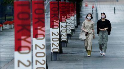 Publicidade dos Jogos Olímpicos de Tóquio no Parque Olímpico.