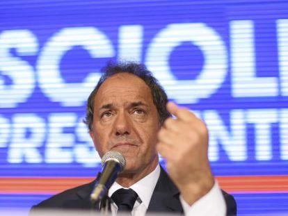 Daniel Scioli, em uma coletiva de imprensa em Bons Ar