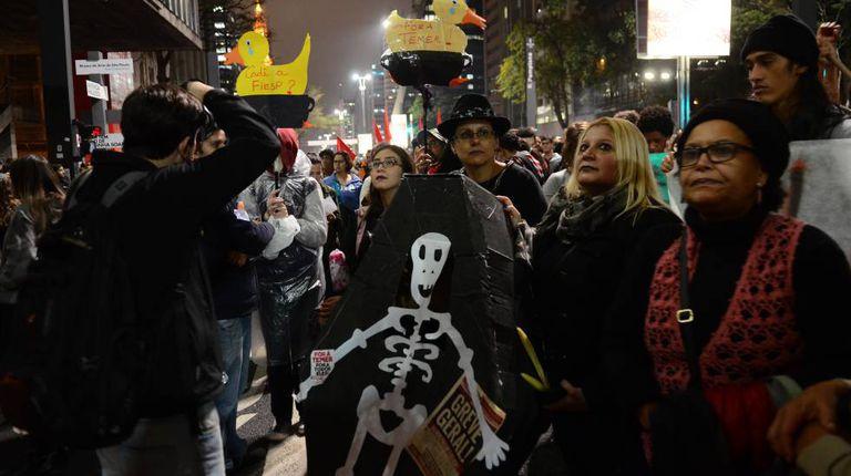 Protesto contra Temer, em 2017