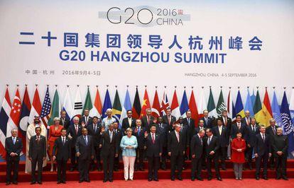 Os líderes que participaram do encontro do G20 em Hangzhou posam para a 'foto de família'.