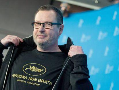 Lars Von Trier na coletiva de imprensa do filme Ninfomaníaca I, no Festival de Berlim.