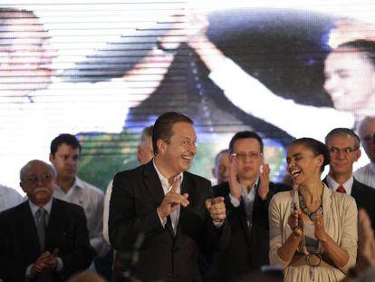 Campos e Marina durante o anúncio da candidatura.