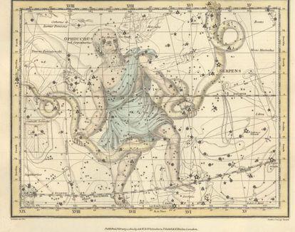 Constelação de 'Ofiúco', do 'Celestial Atlas', de Alexander Jamieson (1822).