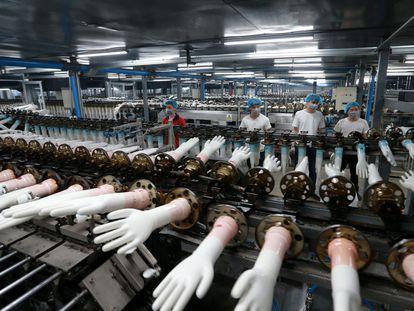 Linha de produção de luvas de vinil descartáveis em uma fábrica na China.