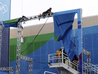 O vento causou estragos no Parque Olímpico.
