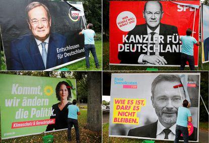 Cartazes dos quatro principais candidatos nas eleições alemãs de 26 de setembro: Armin Laschet (CDU), Olaf Scholz (SPD), Annalena Baerbock (Os Verdes) e Christian Lindner (FDP).