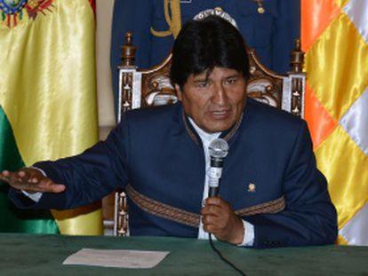 Evo Morales em um discurso em La Paz.