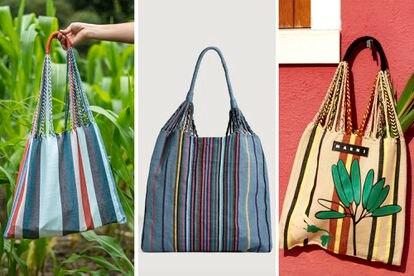 A partir da esquerda: bolsa hamaca original elaborada pela artesã Francisca Pérez, a vendida no site da loja Oysho e, por último, a bolsa vendida pela empresa Marni. EL PAÍS