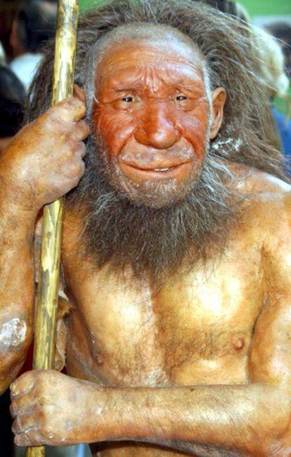Figura de um homem neardental no Museu Neanderthals em Mettmann (Alemanha).