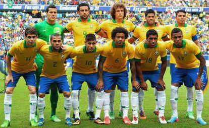 A seleção brasileira na final da Copa das Confederações.