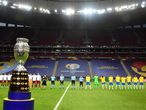 View of the Copa America trophy before the start of the Conmebol Copa America 2021 football tournament group phase match between Brazil and Venezuela at the Mane Garrincha Stadium in Brasilia on June 13, 2021. (Photo by NELSON ALMEIDA / AFP)