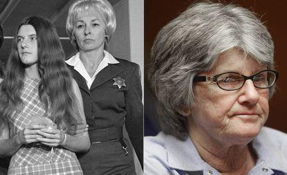 Patricia Krenwinkel durante o julgamento e no ano passado, quando pediu pela 14º vez a liberdade condicional.