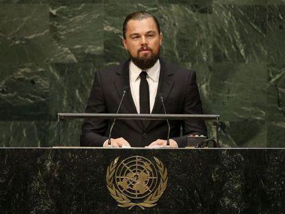 O ator Leonardo Di Caprio fala na Cúpula do Clima.