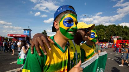 Torcedores brasileiros na Rússia.