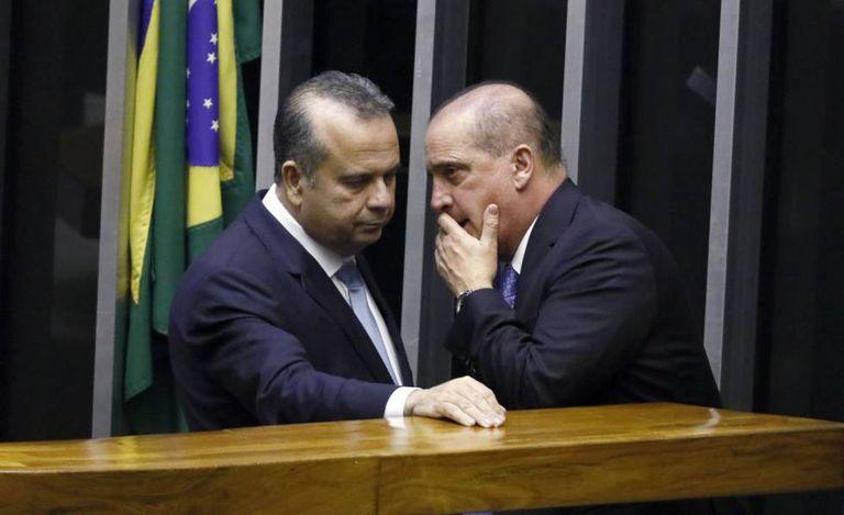 Rogério Marinho e Onyx Lorenzoni, na Câmara nesta quinta-feira.