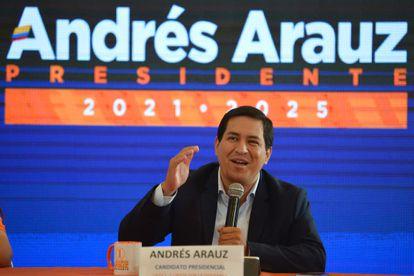 Andrés Arauz, candidato à presidência do Equador, durante entrevista em 7 de fevereiro.