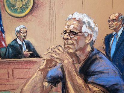 Desenho da audiência em 31 de julho de Jeffrey Epstein, acusado de exploração sexual de dezenas de meninas, no tribunal de Nova York.