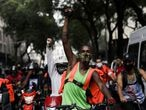 Delivery apps workers participate in a strike demanding better working and paying conditions amid the outbreak of the coronavirus disease (COVID-19) in Rio de Janeiro, Brazil, July 1, 2020. REUTERS/Ricardo Moraes