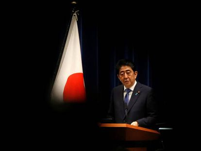Shinzo Abe durante conferência de imprensa