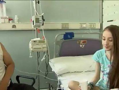 Valentina, a menor chilena doente, no hospital.