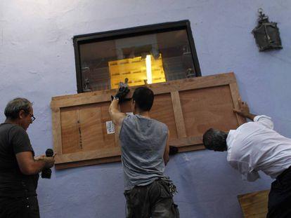 Preparativos para a chegada do furacão María em San Juan, capital de Porto Rico.